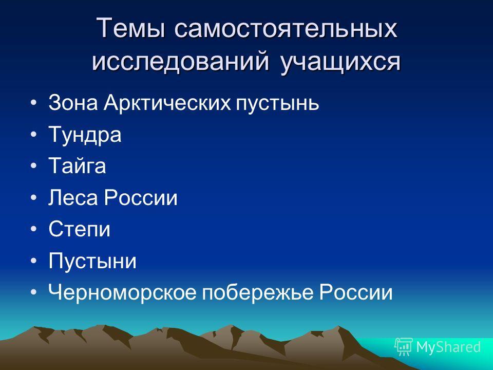 Темы самостоятельных исследований учащихся Зона Арктических пустынь Тундра Тайга Леса России Степи Пустыни Черноморское побережье России