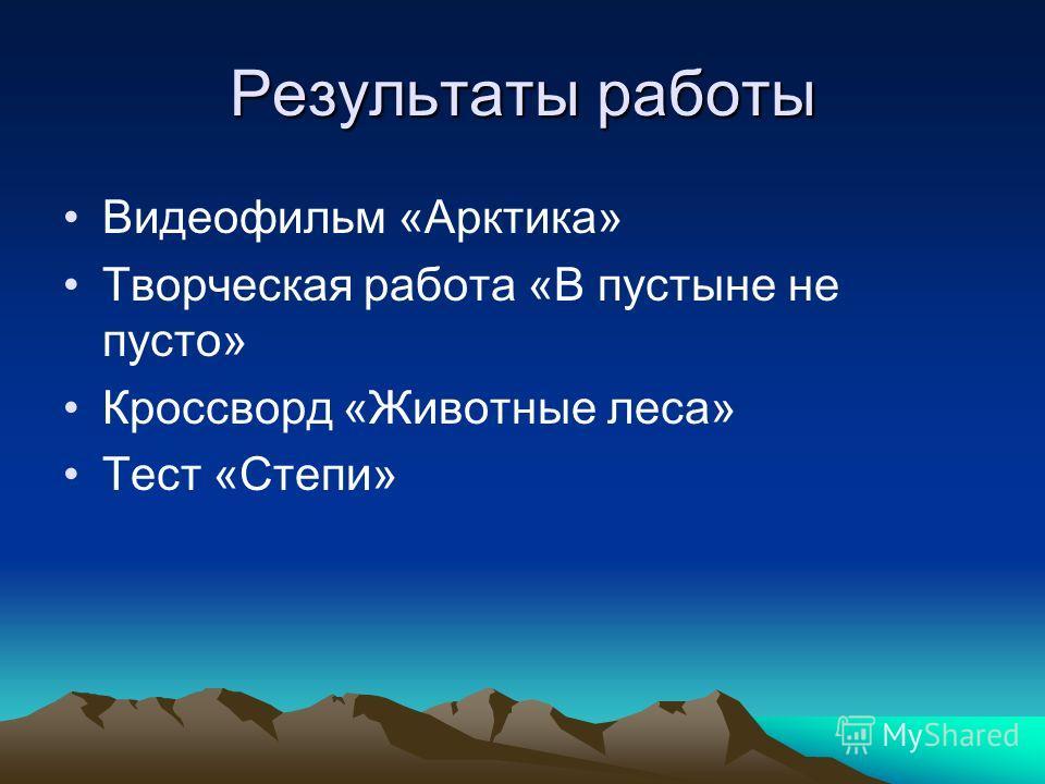 Результаты работы Видеофильм «Арктика» Творческая работа «В пустыне не пусто» Кроссворд «Животные леса» Тест «Степи»