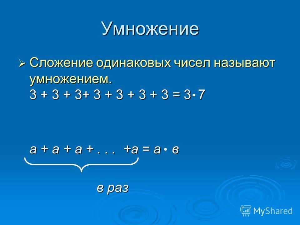 Умножение Сложение одинаковых чисел называют умножением. 3 + 3 + 3+ 3 + 3 + 3 + 3 = 3 7 Сложение одинаковых чисел называют умножением. 3 + 3 + 3+ 3 + 3 + 3 + 3 = 3 7 а + а + а +... +а = а в в раз в раз