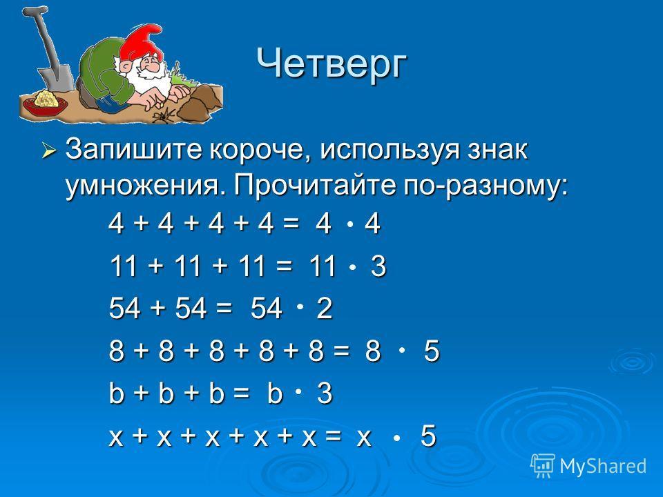 4 4 4 4 11 3 11 3 542 8 5 8 5 b3 b3 x 5 x 5 Четверг Запишите короче, используя знак умножения. Прочитайте по-разному: Запишите короче, используя знак умножения. Прочитайте по-разному: 4 + 4 + 4 + 4 = 11 + 11 + 11 = 54 + 54 = 8 + 8 + 8 + 8 + 8 = b + b