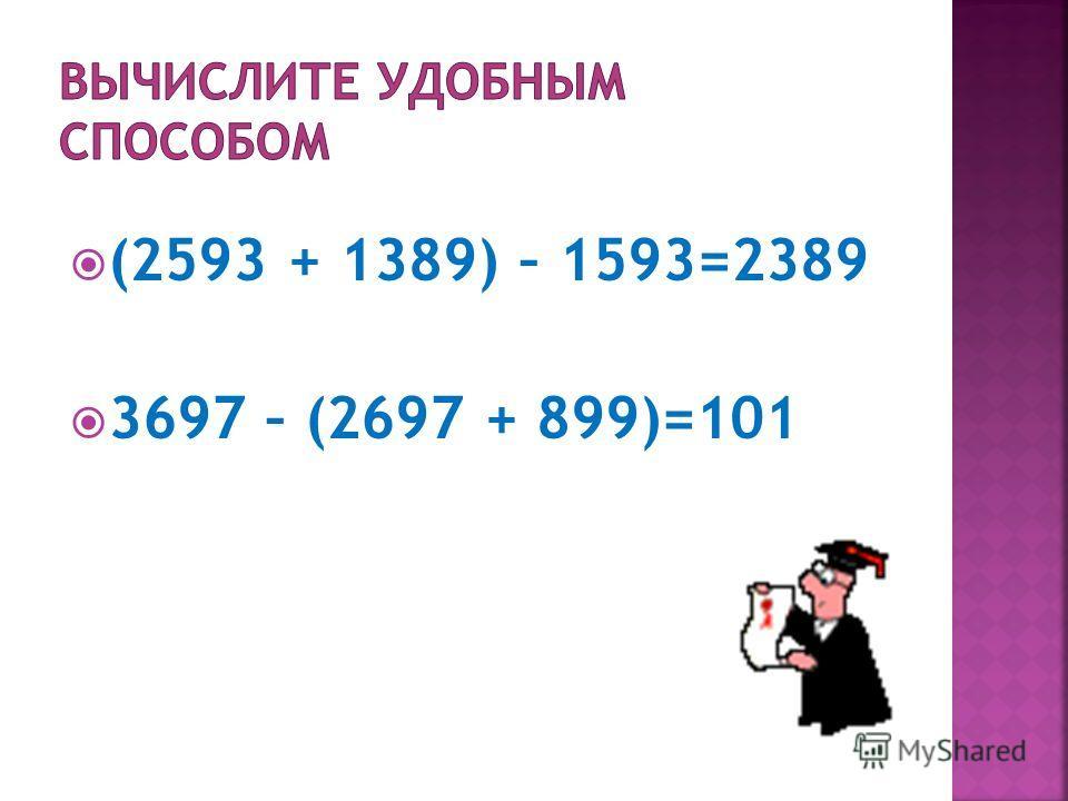 (2593 + 1389) – 1593=2389 3697 – (2697 + 899)=101