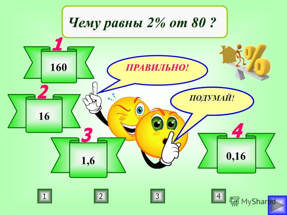 ПРАВИЛЬНО! ПОДУМАЙ! 3214 Чему равны 2% от 80 ? 160 16 1,6 0,16