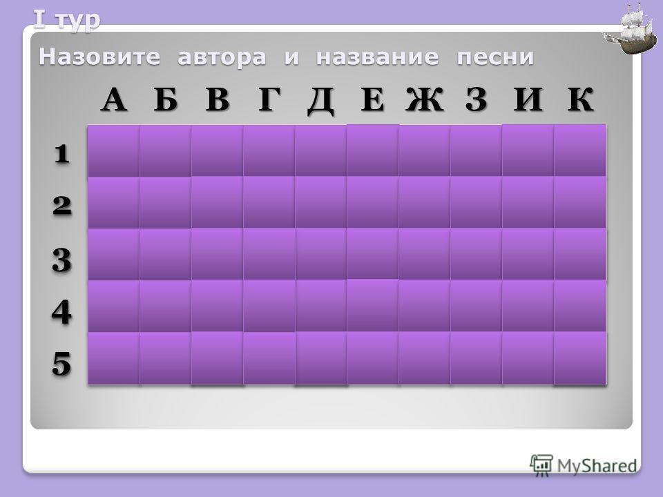 АБВГДЕЖЗИК11 22 33 44 55 Назовите автора и название песни I тур