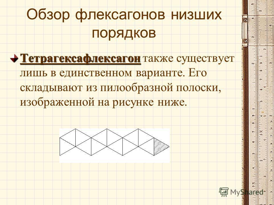 Обзор флексагонов низших порядков ТригексафлексагонТригексафлексагон. Существует только одна разновидность этого флексагона, похожая своим внешним видом в сложенном состоянии на дуогексафлек- сагон, который вы можете видеть на рисунке ниже.