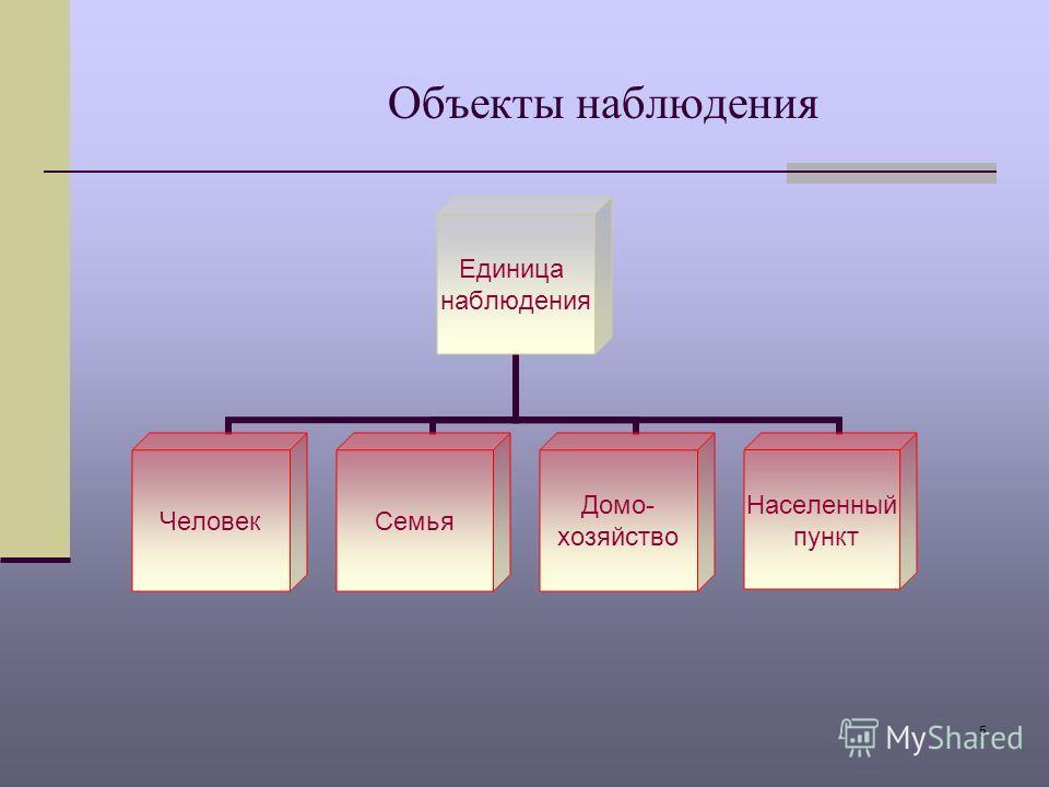5 Объекты наблюдения Единица наблюдения ЧеловекСемья Домо- хозяйство Населенный пункт