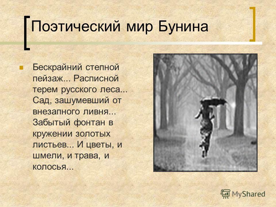 Поэтический мир Бунина Бескрайний степной пейзаж... Расписной терем русского леса... Сад, зашумевший от внезапного ливня... Забытый фонтан в кружении золотых листьев... И цветы, и шмели, и трава, и колосья...
