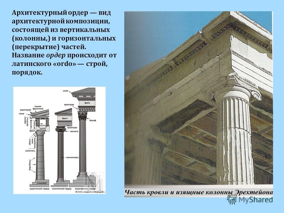 Архитектурный ордер вид архитектурной композиции, состоящей из вертикальных (колонны,) и горизонтальных (перекрытие) частей. Название ордер происходит от латинского «ordo» строй, порядок.