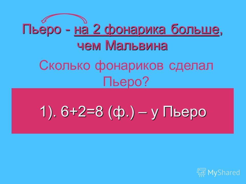 Пьеро - на 2 фонарика больше, чем Мальвина 1). 6+2=8 (ф.) – у Пьеро Сколько фонариков сделал Пьеро?