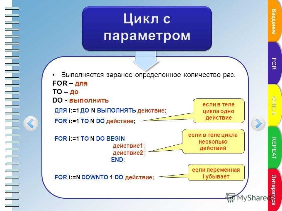 Выполняется заранее определенное количество раз. FOR – для TO – до DO - выполнить ДЛЯ i:=1 ДО N ВЫПОЛНЯТЬ действие; FOR i:=1 TO N DO действие; FOR i:=1 TO N DO BEGIN действие1; действие2; END; FOR i:=N DOWNTO 1 DO действие; если переменная i убывает