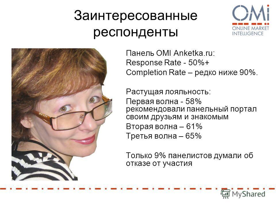 Заинтересованные респонденты Панель OMI Anketka.ru: Response Rate - 50%+ Completion Rate – редко ниже 90%. Растущая лояльность: Первая волна - 58% рекомендовали панельный портал своим друзьям и знакомым Вторая волна – 61% Третья волна – 65% Только 9%