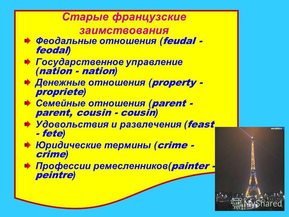 Старые французские заимствования Феодальные отношения ( feudal - feodal ) Государственное управление ( nation - nation ) Денежные отношения ( property - propriete ) Семейные отношения ( parent - parent, cousin - cousin ) Удовольствия и развлечения (