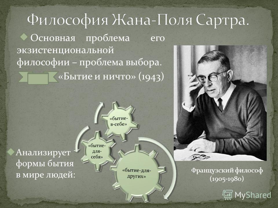 Основная проблема его экзистенциональной философии – проблема выбора. «Бытие и ничто» (1943) Французский философ (1905-1980) Анализирует формы бытия в мире людей: