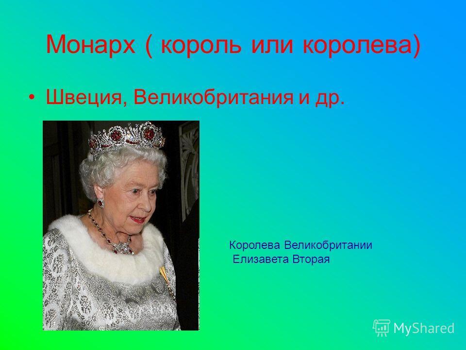 Монарх ( король или королева) Швеция, Великобритания и др. Королева Великобритании Елизавета Вторая