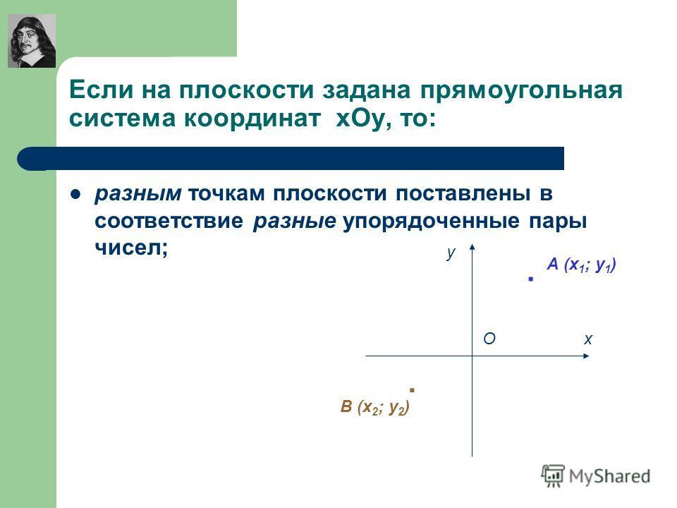Если на плоскости задана прямоугольная система координат хОу, то: разным точкам плоскости поставлены в соответствие разные упорядоченные пары чисел; х у О.. А (х 1 ; у 1 ) В (х 2 ; у 2 )