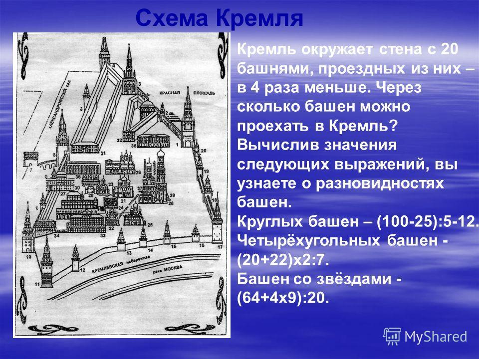 Кремль окружает стена с 20 башнями, проездных из них – в 4 раза меньше. Через сколько башен можно проехать в Кремль? Вычислив значения следующих выражений, вы узнаете о разновидностях башен. Круглых башен – (100-25):5-12. Четырёхугольных башен - (20+