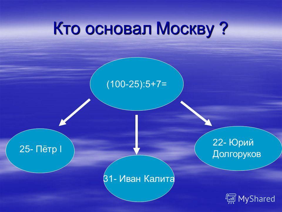 Кто основал Москву ? (100-25):5+7= 31- Иван Калита 25- Пётр l 22- Юрий Долгоруков