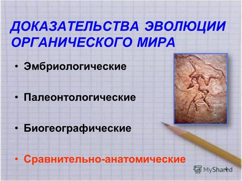 ДОКАЗАТЕЛЬСТВА ЭВОЛЮЦИИ ОРГАНИЧЕСКОГО МИРА Эмбриологические Палеонтологические Биогеографические Сравнительно-анатомические 4