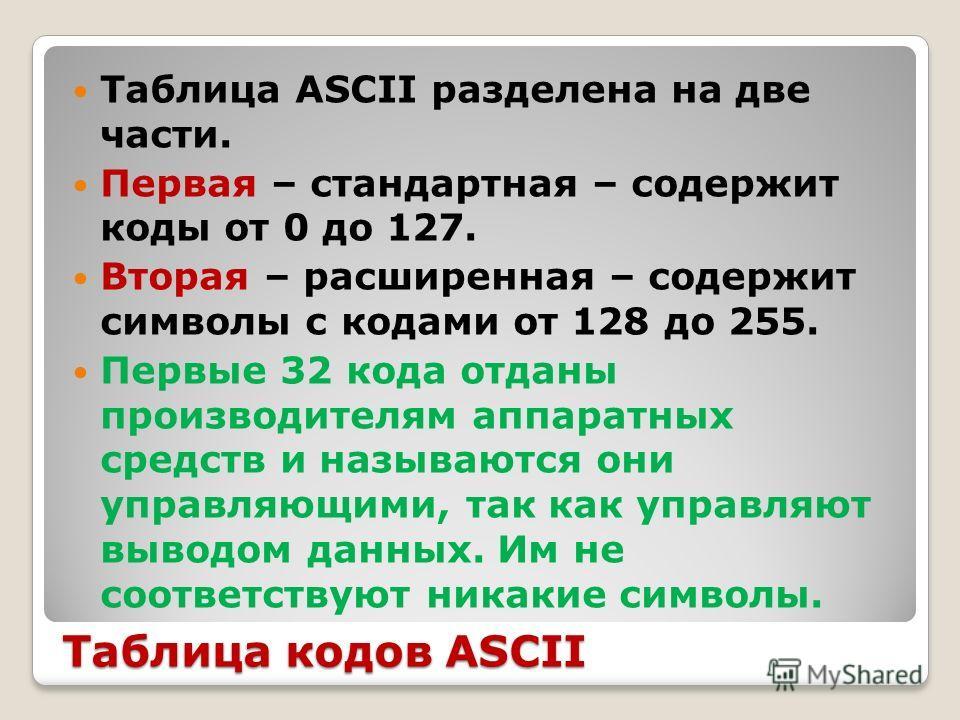 Таблица кодов ASCII Таблица ASCII разделена на две части. Первая – стандартная – содержит коды от 0 до 127. Вторая – расширенная – содержит символы с кодами от 128 до 255. Первые 32 кода отданы производителям аппаратных средств и называются они управ