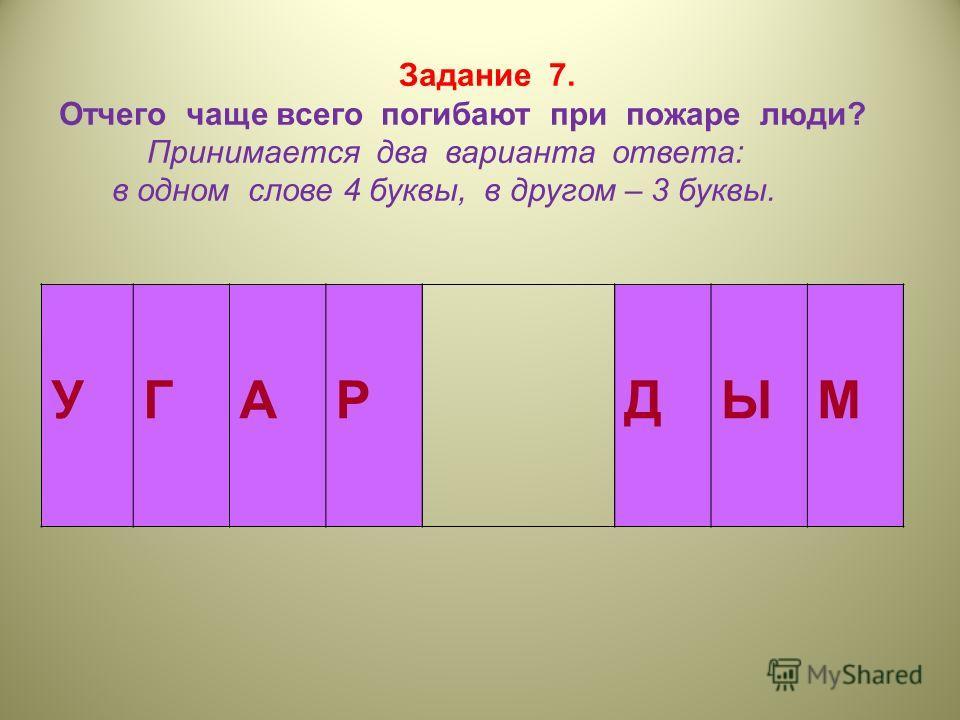 Задание 7. Отчего чаще всего погибают при пожаре люди? Принимается два варианта ответа: в одном слове 4 буквы, в другом – 3 буквы. УГАРДЫМ