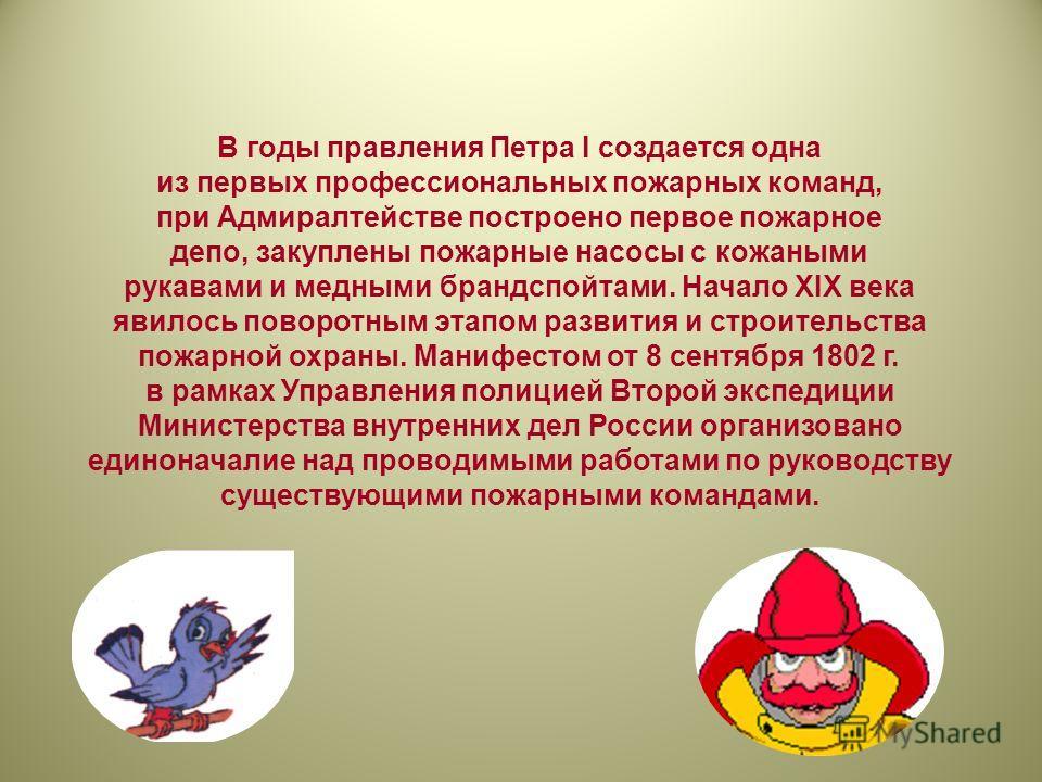 В годы правления Петра I создается одна из первых профессиональных пожарных команд, при Адмиралтействе построено первое пожарное депо, закуплены пожарные насосы с кожаными рукавами и медными брандспойтами. Начало ХIХ века явилось поворотным этапом ра