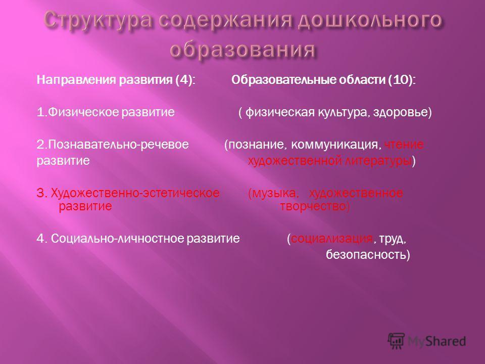 Направления развития (4): Образовательные области (10): 1.Физическое развитие ( физическая культура, здоровье) 2.Познавательно-речевое (познание, коммуникация, чтение развитие художественной литературы) 3. Художественно-эстетическое (музыка, художест
