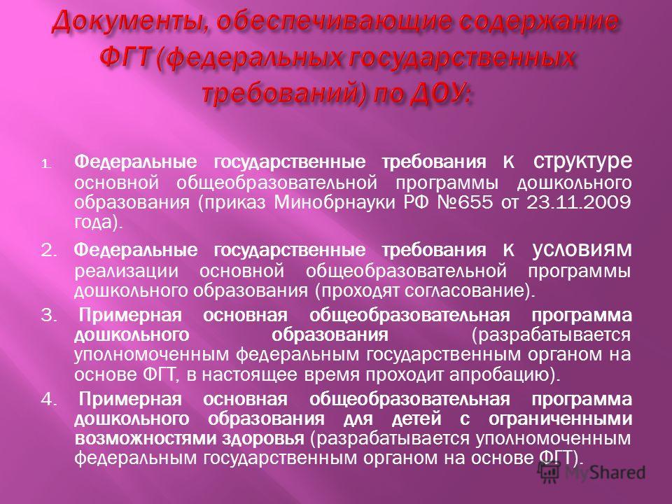 1. Федеральные государственные требования к структуре основной общеобразовательной программы дошкольного образования (приказ Минобрнауки РФ 655 от 23.11.2009 года). 2. Федеральные государственные требования к условиям реализации основной общеобразова