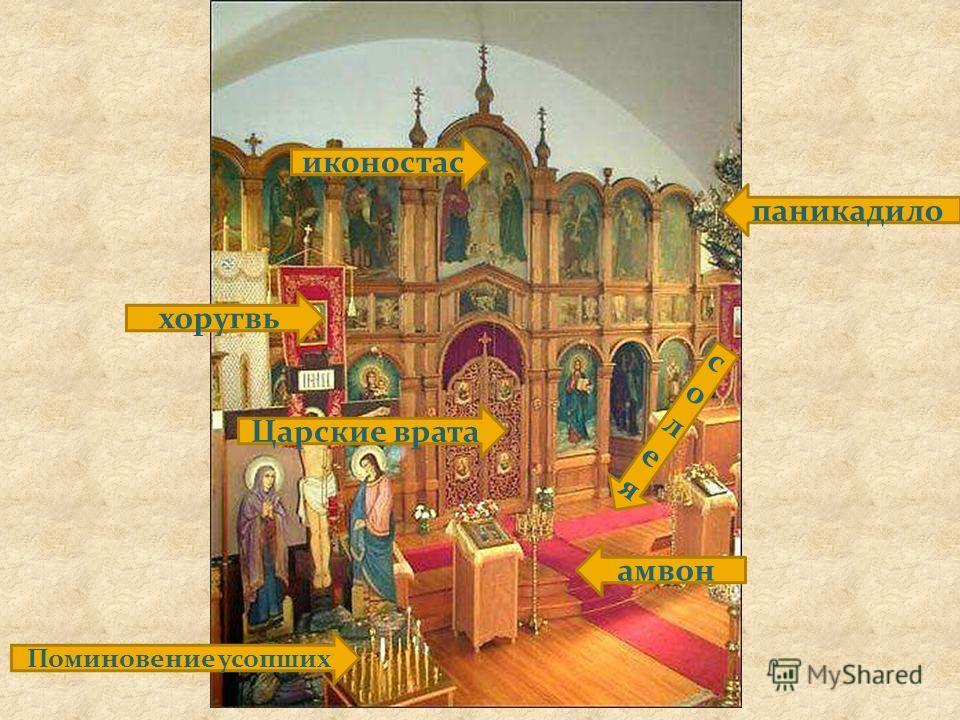 иконостас хоругвь Поминовение усопших Царские врата паникадило амвон солеясолея