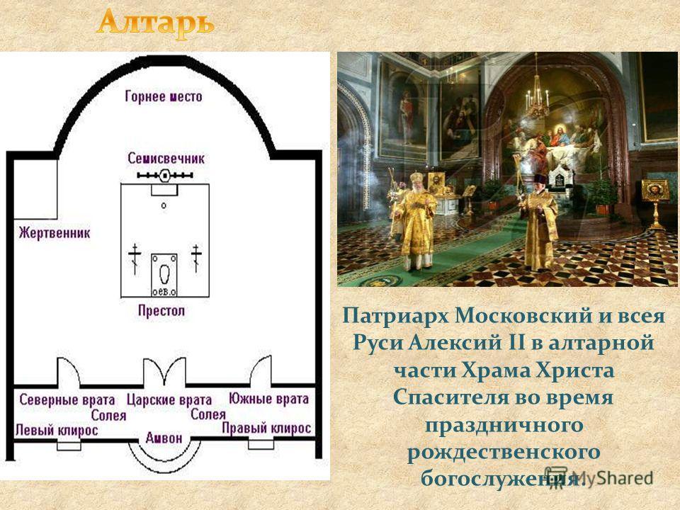 Патриарх Московский и всея Руси Алексий II в алтарной части Храма Христа Спасителя во время праздничного рождественского богослужения.