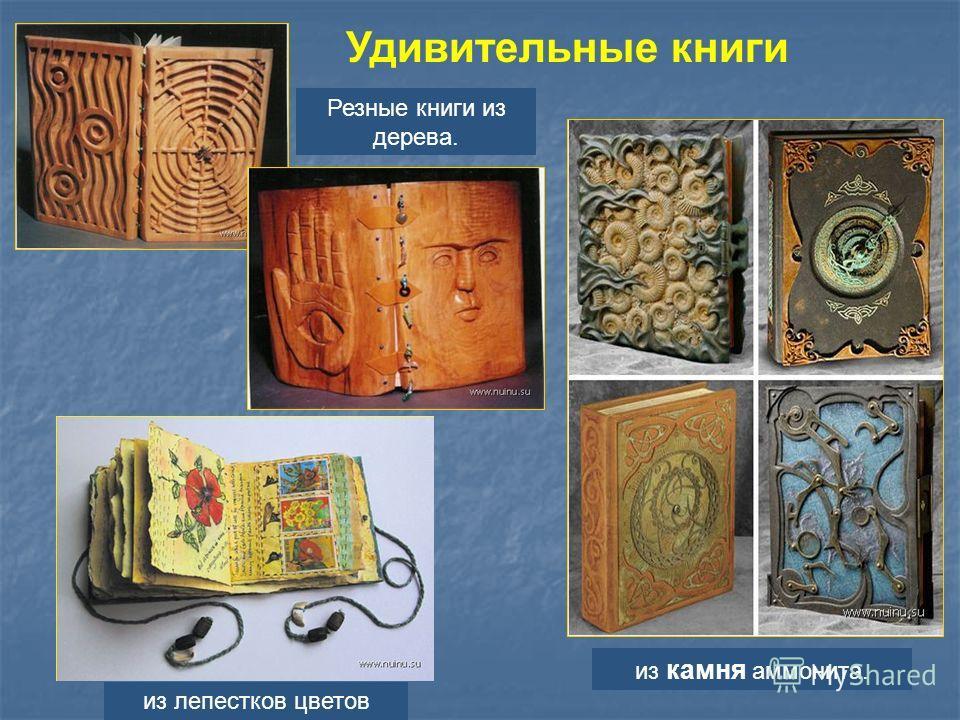 Удивительные книги из лепестков цветов Резные книги из дерева. из камня аммонита.