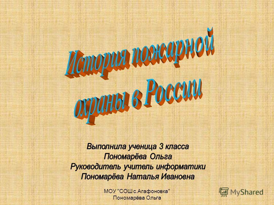 МОУ СОШ с.Агафоновка Пономарёва Ольга