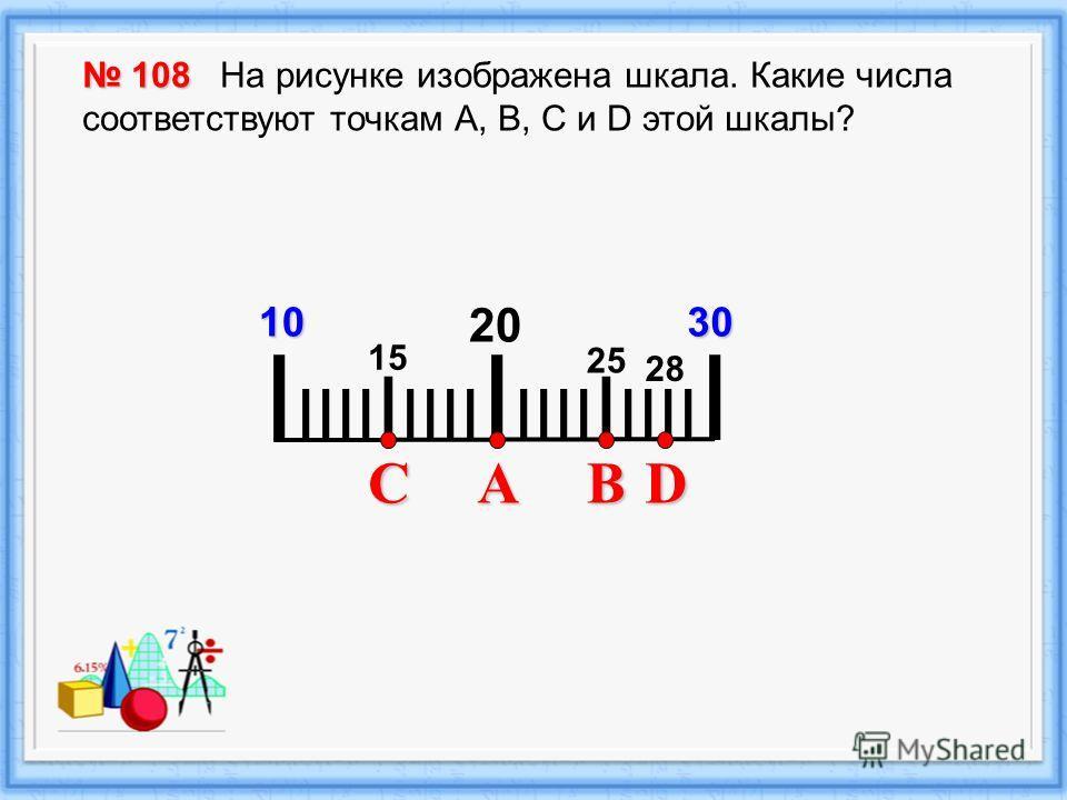 I IIII I IIII I IIII I IIII I 2010 108 108 На рисунке изображена шкала. Какие числа соответствуют точкам А, В, С и D этой шкалы? 30 CBAD 15 25 28