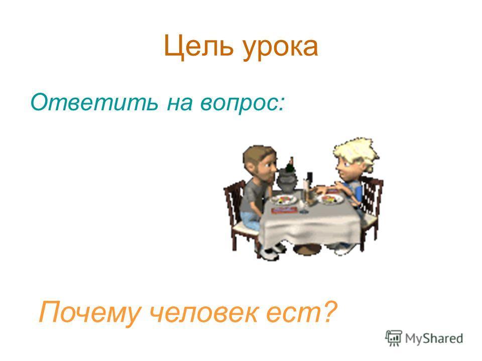 Цель урока Ответить на вопрос: Почему человек ест?