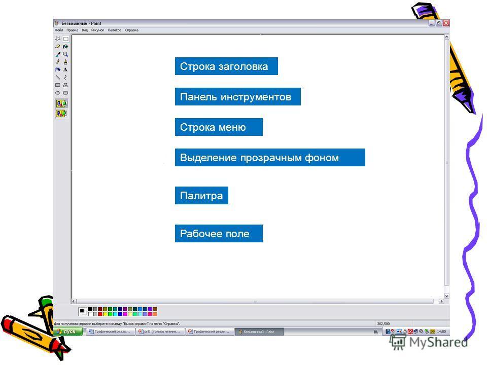 Строка заголовка Панель инструментов Палитра Строка меню Рабочее поле Выделение прозрачным фоном