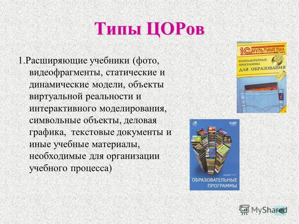 Типы ЦОРов 1.Расширяющие учебники (фото, видеофрагменты, статические и динамические модели, объекты виртуальной реальности и интерактивного моделирования, символьные объекты, деловая графика, текстовые документы и иные учебные материалы, необходимые