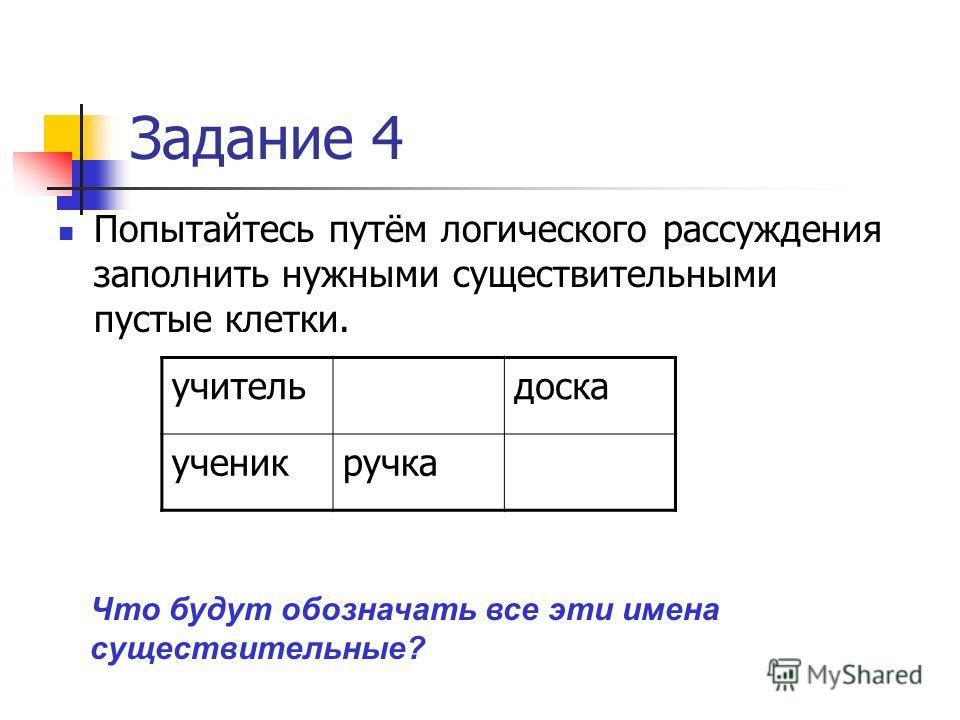 Задание 4 Попытайтесь путём логического рассуждения заполнить нужными существительными пустые клетки. учительдоска ученикручка Что будут обозначать все эти имена существительные?