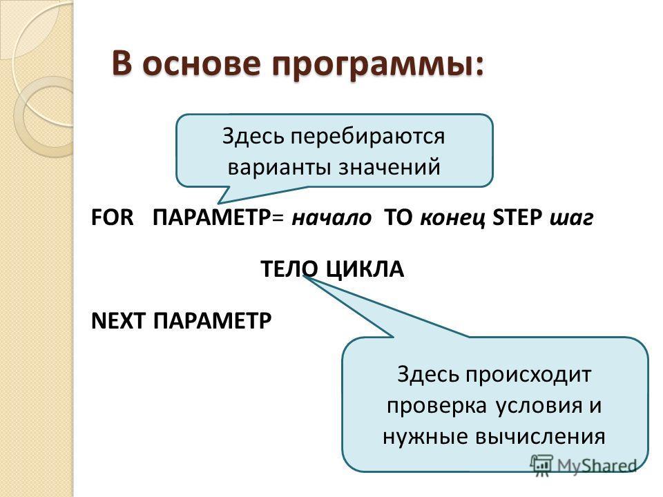 В основе программы: FOR ПАРАМЕТР= начало TO конец STEP шаг ТЕЛО ЦИКЛА NEXT ПАРАМЕТР Здесь перебираются варианты значений Здесь происходит проверка условия и нужные вычисления