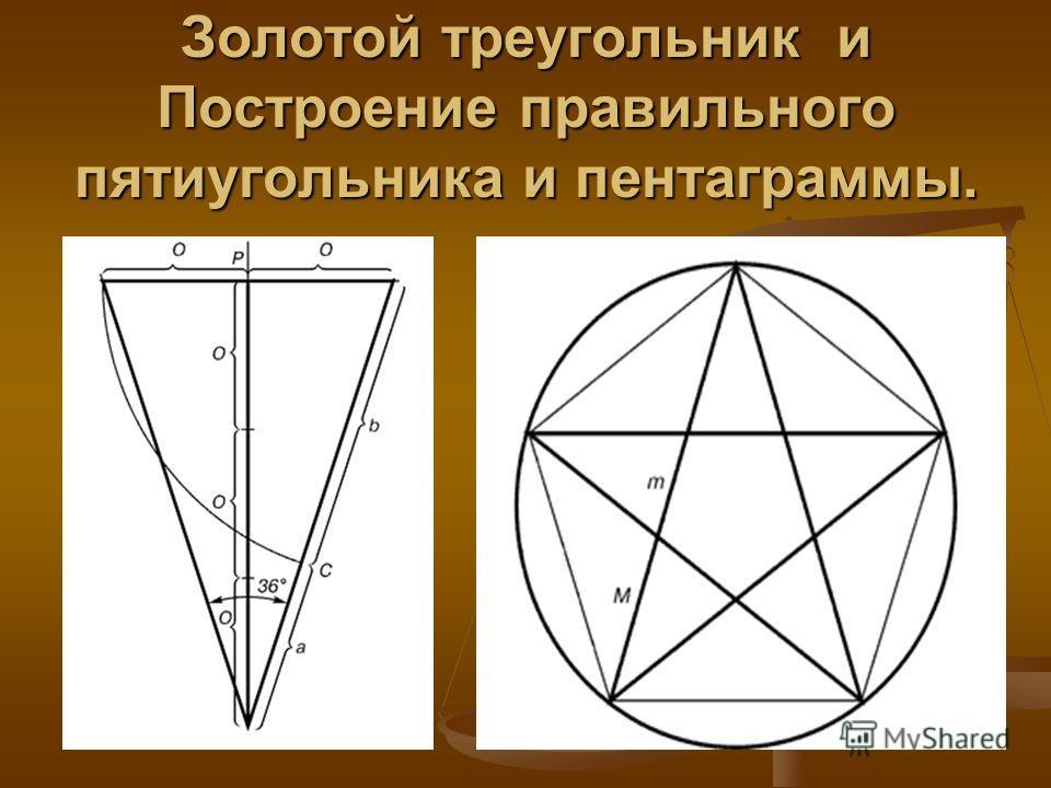 Золотой треугольник и Построение правильного пятиугольника и пентаграммы.