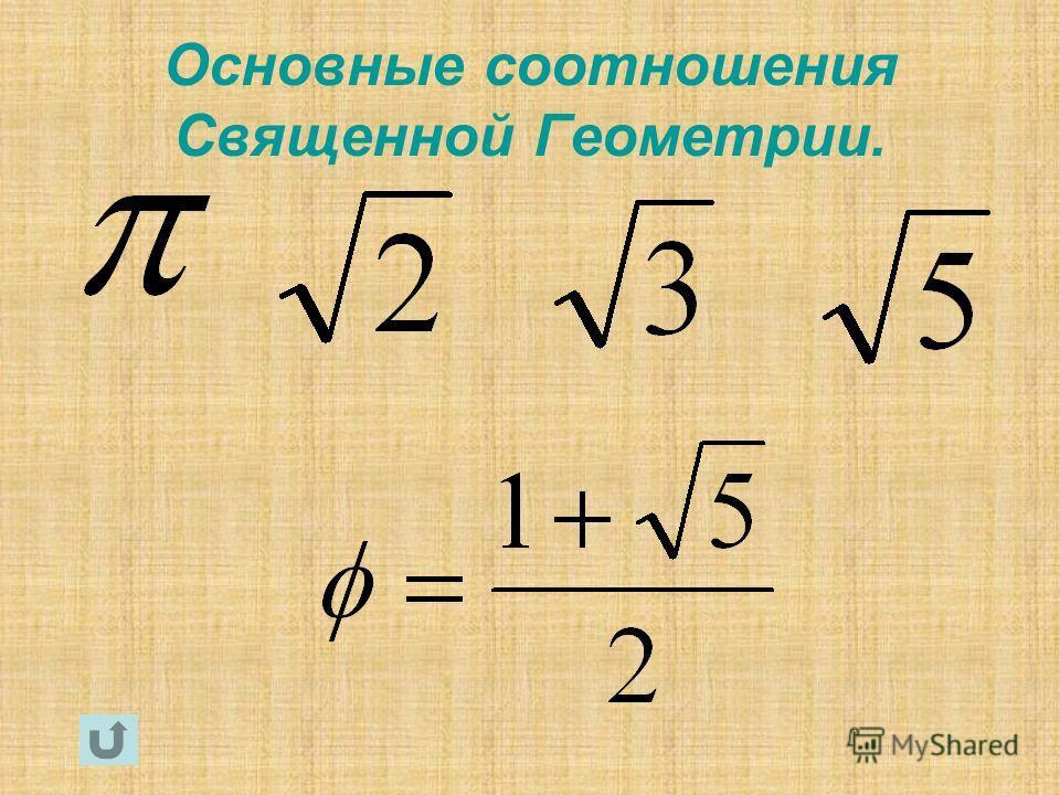 Основные соотношения Священной Геометрии.