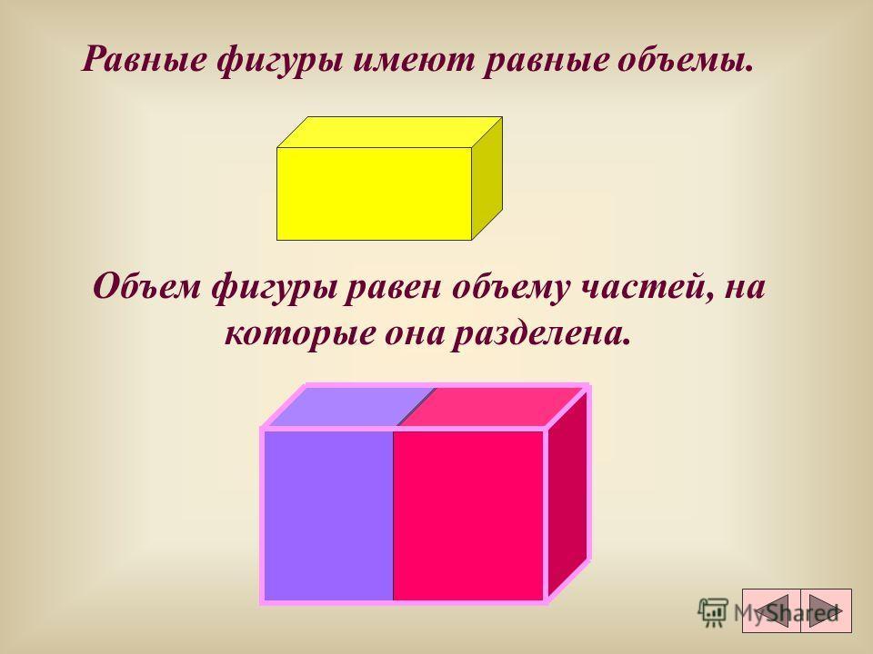 Равные фигуры имеют равные объемы. Объем фигуры равен объему частей, на которые она разделена.