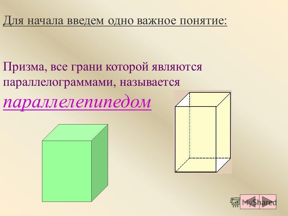 Для начала введем одно важное понятие: Призма, все грани которой являются параллелограммами, называется параллелепипедом