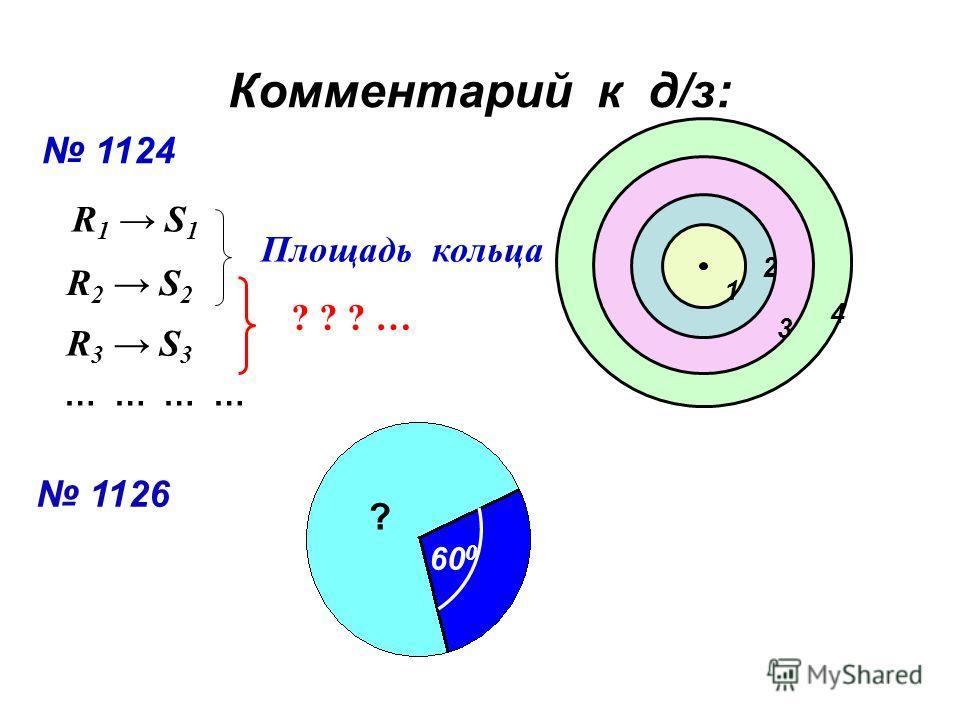 Комментарий к д/з: 1124 1 2 3 4 R 1 S 1 R 2 S 2 Площадь кольца R 3 S 3 ? ? ? … 1126 60 0 ? … … … …