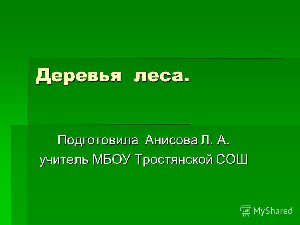 Деревья леса. Подготовила Анисова Л. А. учитель МБОУ Тростянской СОШ