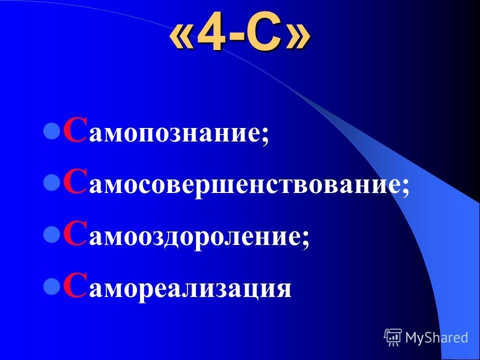 «4-С» С амопознание; С амосовершенствование; С амооздороление; С амореализация