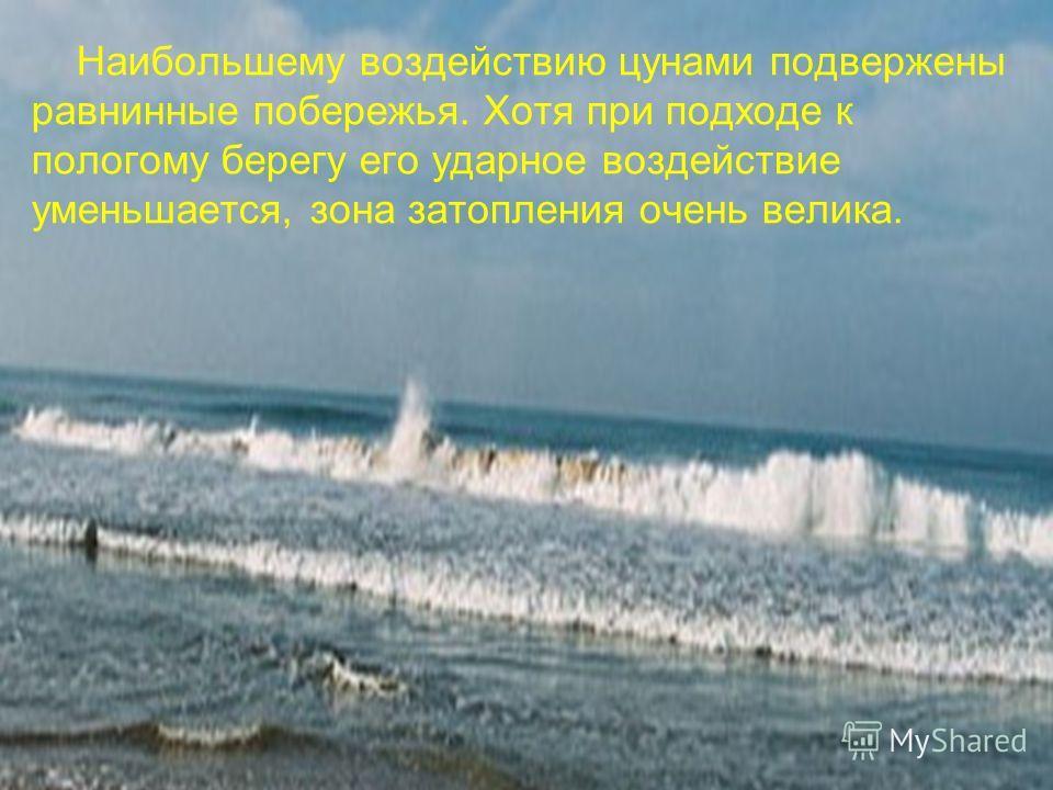 Наибольшему воздействию цунами подвержены равнинные побережья. Хотя при подходе к пологому берегу его ударное воздействие уменьшается, зона затопления очень велика.