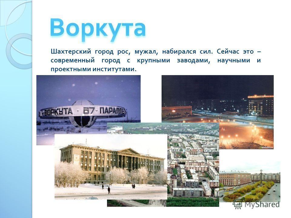 Шахтерский город рос, мужал, набирался сил. Сейчас это – современный город с крупными заводами, научными и проектными институтами.
