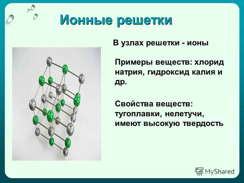 Ионные решетки В узлах решетки - ионы Примеры веществ: хлорид натрия, гидроксид калия и др. Свойства веществ: тугоплавки, нелетучи, имеют высокую твердость