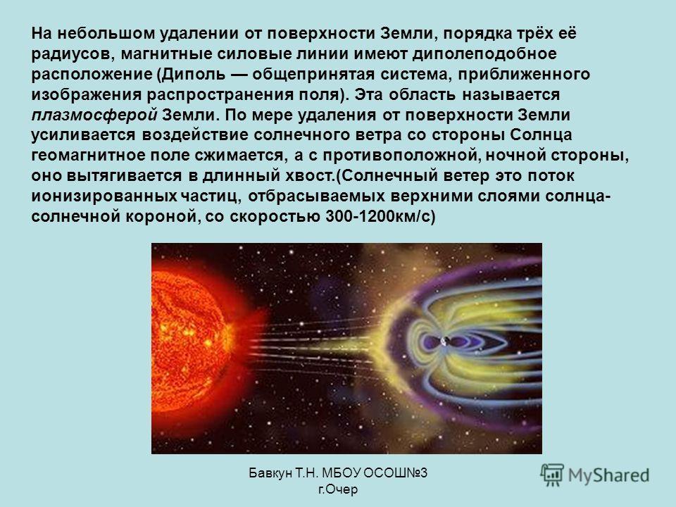 Бавкун Т.Н. МБОУ ОСОШ3 г.Очер На небольшом удалении от поверхности Земли, порядка трёх её радиусов, магнитные силовые линии имеют диполеподобное расположение (Диполь общепринятая система, приближенного изображения распространения поля). Эта область н