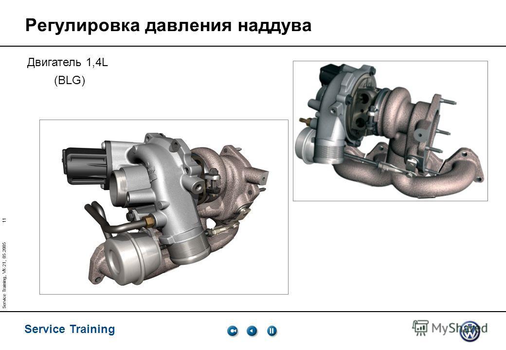11 Service Training Service Training, VK-21, 05.2005 Регулировка давления наддува Двигатель 1,4L (BLG)