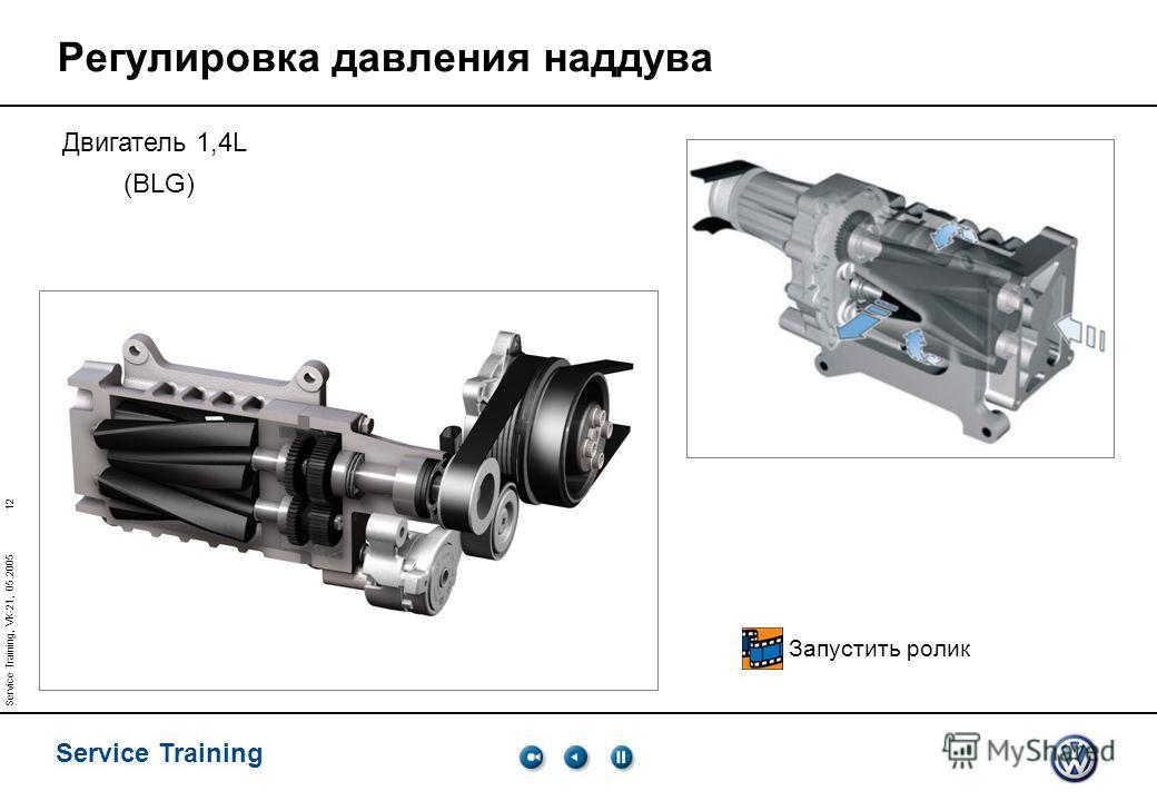 12 Service Training Service Training, VK-21, 05.2005 Регулировка давления наддува Двигатель 1,4L (BLG) Запустить ролик