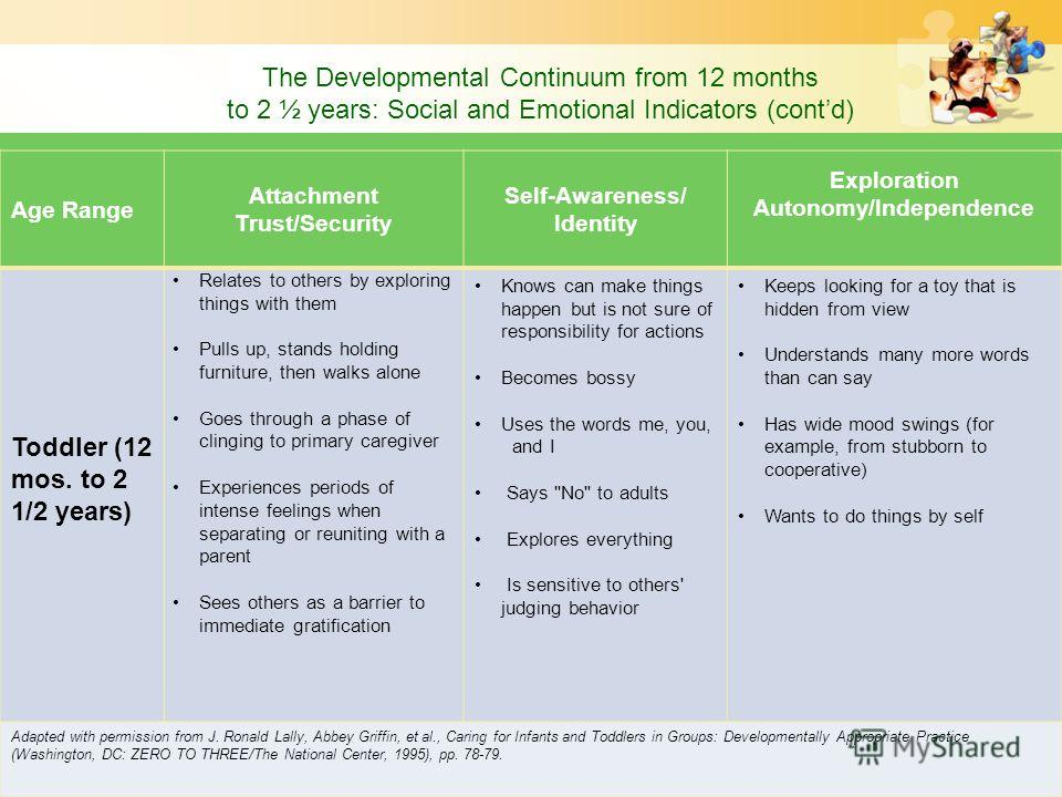The Developmental Continuum from 12 months to 2 ½ years: Social and Emotional Indicators (contd) Age Range Attachment Trust/Security Self-Awareness/ Identity Exploration Autonomy/Independence Toddler (12 mos. to 2 1/2 years) Relates to others by expl